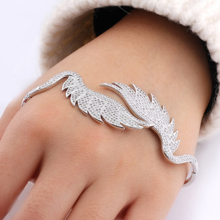 Copper Metal Palm Cuff Bracelet Bangle Angel Feather with Shining CZ Women
