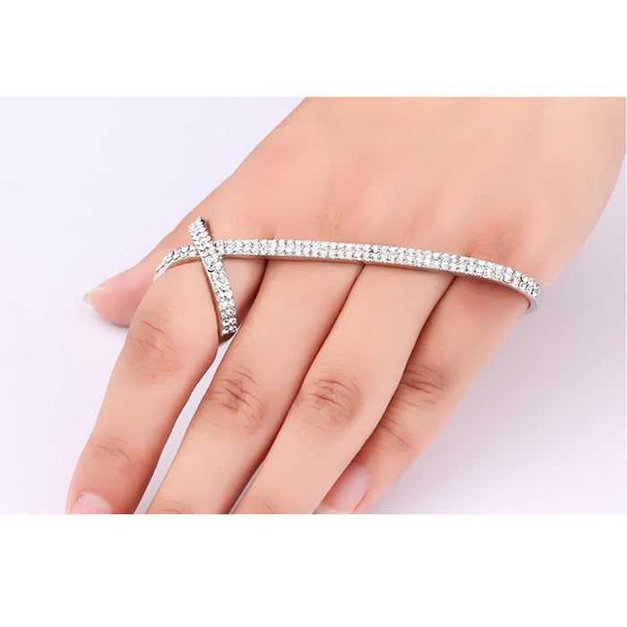 Clear Cubic Zirconia Palm Cuff Bracelet Bangle Chain Adjustable Hand Harness