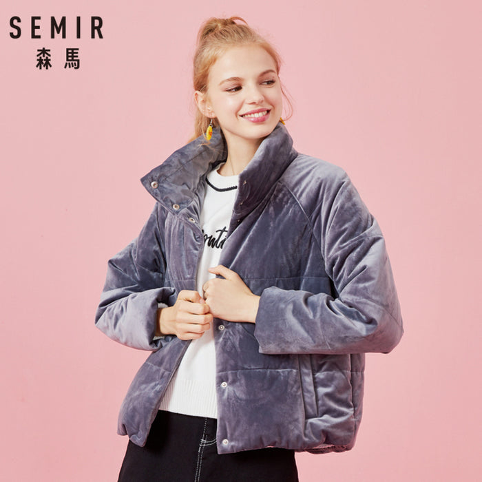 SEMIR Women Short Padded Velvet Jacket with Snap Closure