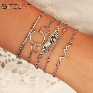 Sindlan 5PCs Silver Ecg Heart Beat Bracelets Set for Women Vintage Angle