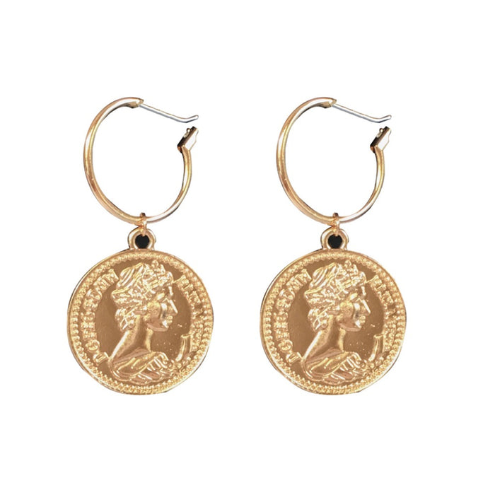 Vintage Tribal Chandelier Portrait Coins Drop Earrings Women Fashion Jewelry