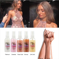 Bronzer Highlighter Liquid Setting Spray Face Body Shimmer Long-lasting Brighten Glow Gold