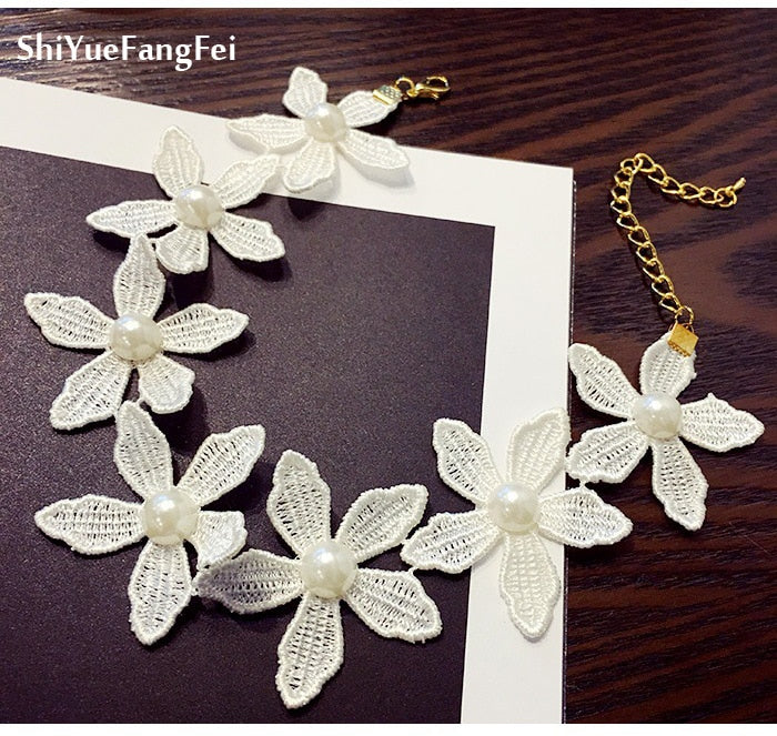 white Choker Collar Necklaces Women Fashion Flower Necklaces&Pendants