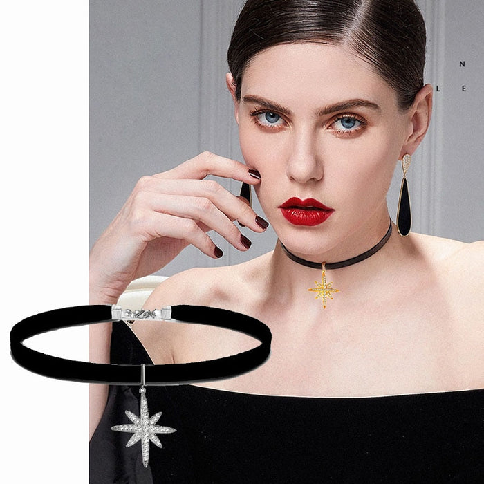 Black Leather Choker Necklace With Crystal Snowflake Star Pendant For Women