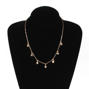 Pendant Choker Necklace Gold Color Star Chain Choker Necklace for Women
