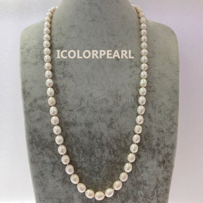 10-12mm Water Drop White Natural Freshwater Pearl Opera Necklace,