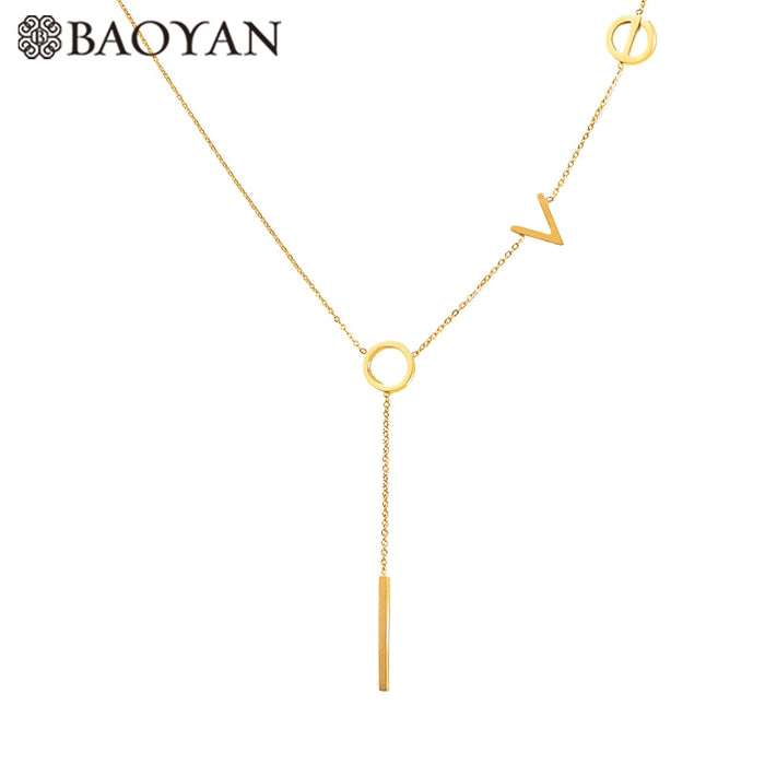 Baoyan Sweet 316L Gold Silver Rose Color Stainless Steel LOVE Letter
