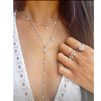 lovely cute cz star charm drop long chain statement fashion jewelry for lady micro pave cz star long Y lariat chain necklace