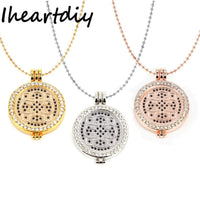 35MM My Coin Holder Frame Pendant Necklace Set With 33MM Deluxe Henna Dream Flower Disc Coin And 80CM Link Chain for Women Gift