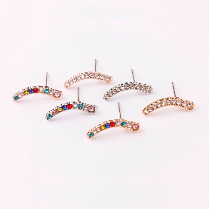 2019 New Fashion Pave Crystal Ear Climber Stud Earrings For Women Silver Gold