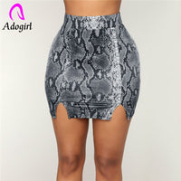 Women Skirts Snake Skin Print Pencil summer Skirts Womens Sexy Club Fashion High Waist Streetwear Mini Bodycon Leather Pu Skirts
