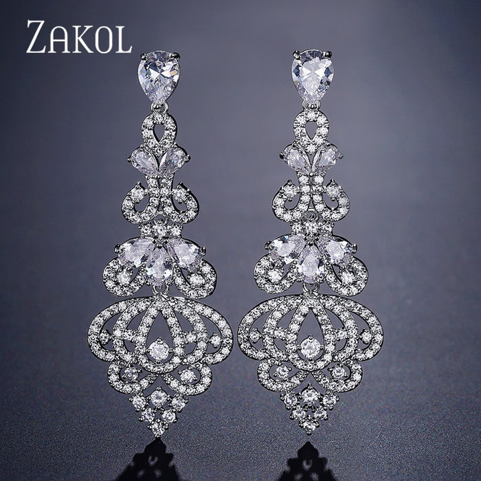 ZAKOL Vintage Zirconia Crystal Chandelier Dangle Earrings For Women Luxury