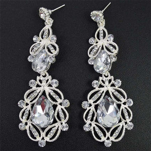 1pair Crystal Teardrop Long Earrings White Color Chandelier Hanging Vintage