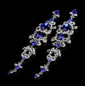 BLIJERY Gorgeous Royal Blue Crystal Bridal Long Drop Earrings Silver Plated