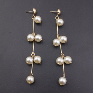 Fashion Statement Multiple Pearls Long Dangle Earrings Jewelry Vintage Gorgeous