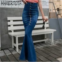 2019  summer  High waist long skirts  women  New fashion Single-breasted bodycon wrap denim trumpet mermaid skirt