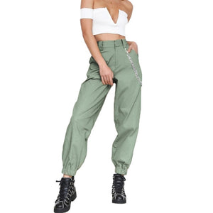2019 Fashion Casual Women Pockets Solid Color Sports Joggers Cargo Pants Ladies