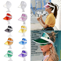 HIRIGIN Summer Unisex Women Men Sun Hat Candy Color Transparent Empty Top Plastic PVC Sunshade Hat Visor Caps Bicycle Sunhat