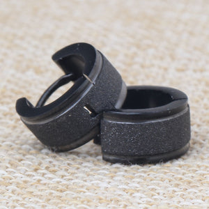 Fashion Frosted Small Huggie Earrings Stainless Steel Sand Surface Black Wide