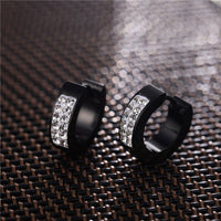 Semitree 316 Stainless Steel Hoop Earrings Women CZ Rhinestone Earring