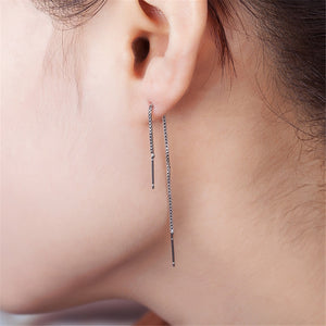 SexeMara Silver Line Thread Threader Dangle Earrings Tassel Wire Bars Rolo