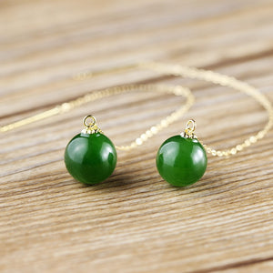 Gold Natural Hetian Green Stone Ball Shaped Threader Earrings