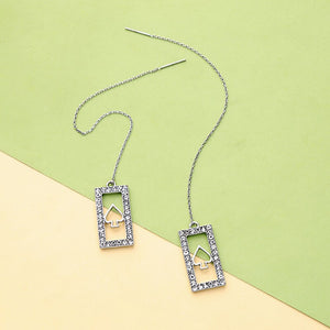 Vintage Ear Line Hanging Long Earring For Women Girl Romantic Crystal Square