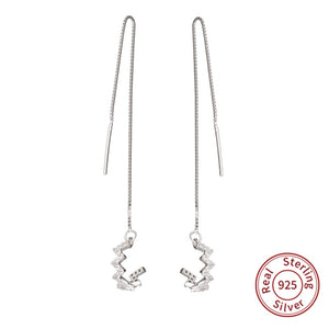 925 Sterling Silver Crystal Wave Bar Long Chain Threader Earrings Drop Dangle