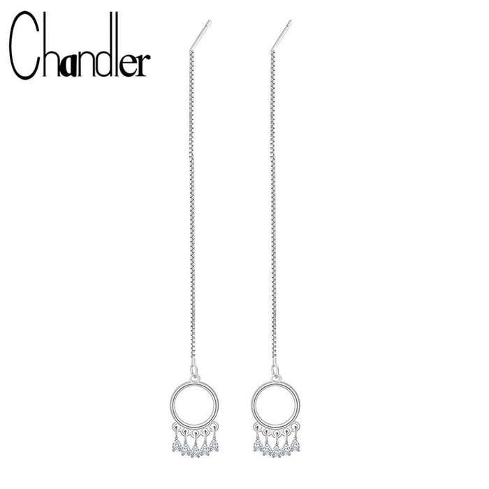 Chandler 2018 New Fashion Simple Long Box Chain Earrings Ear Line Threader