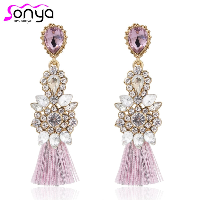 Bohemian Rhinestone Luxury Drop Earrings for Women Thread Statement