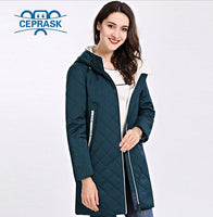 2019 Spring Autum Women's Parka Coat Thin Women Jackets Long Plus Size Hooded High Quality Warm Cotton Coats CEPRASK New Padded