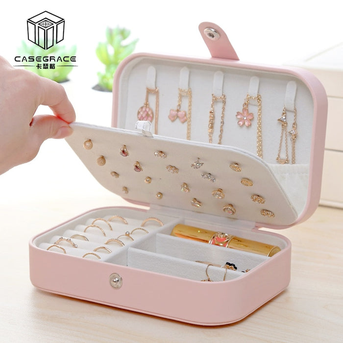 Casegrace Girl PU Leather Jewelry Box and packaging Ring Display Case Portable Jewelry Organizer Travel for Necklaces Earrings