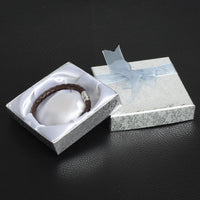De Bijoux 18Pcs/lot 9*9Cm Silver Square Bow Paper Bracelet Bangle Wristwatch Jewelry Gift Box Paper boxes with ribbon favor box