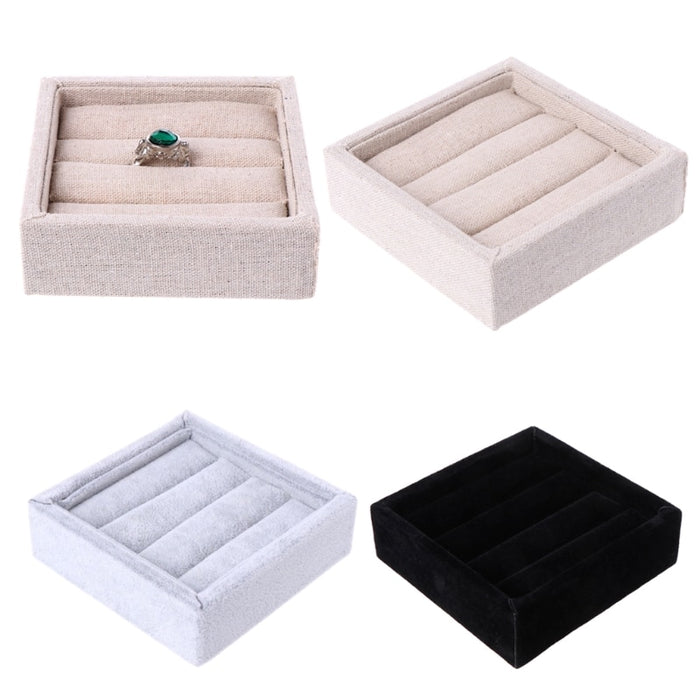 Velvet Jewelry Earring Ring Display Box Tray Holder Storage Showcase Organizer