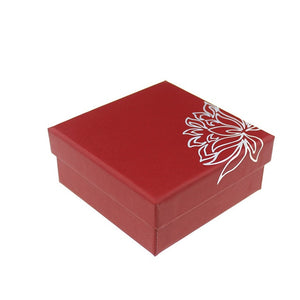 DoreenBeads Lotus Pattern Paper Red Jewelry Box Necklace Earrings Ring Set Boxes For Gift Packing & Display Wholesale 1 Piece