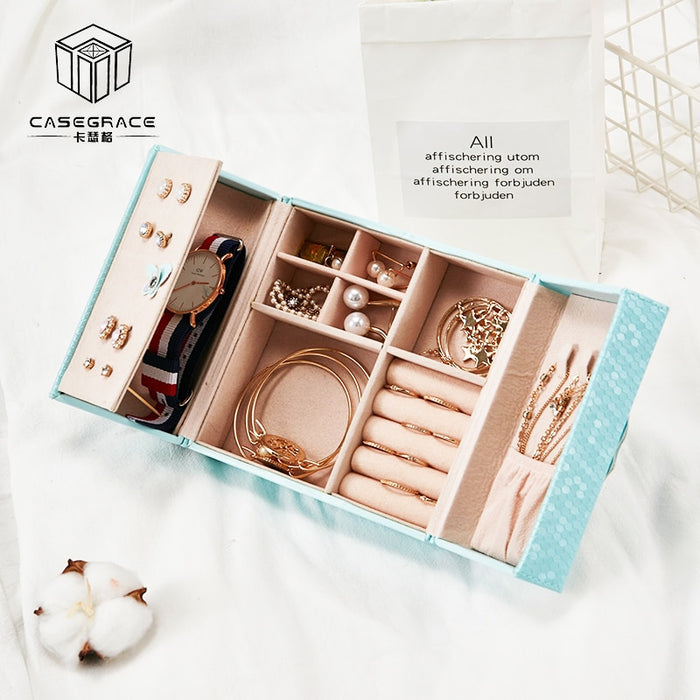 Casegrace Korean Sweet Jewelry Box Organizer Travel Portable Universal Leather Ring Bracelet Earring Display Storage Box Case