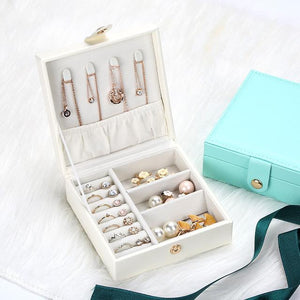 Travel Portable Jewelry Box Korean Cute Button Leather Jewelry Box Ring Earring Holder Display Jewellery Organizer Gifts Boxes