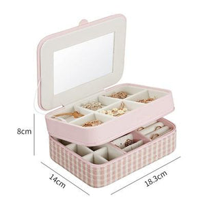 Korean Style Fresh And Simple Girl Earrings Plate Jewelry Box Portable Leather Earrings Ring Multi-function Jewelry Storage Box