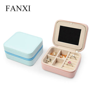 New PU Leather Jewelry Display Storage Case With Zipper Travel Portable Jewelry Box Women Two Layer Makeup Jewelry Organizer