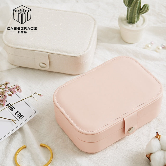 Travel Jewelry Box Cosmetic Makeup Organizer Jewelry Packing Box Earrings Display Rings Organizer Jewelry Casket Carrying Case