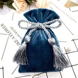 Pink Gold Velvet Bags With Tassel 11x15cm Purple Red /Blue Gray Pouches