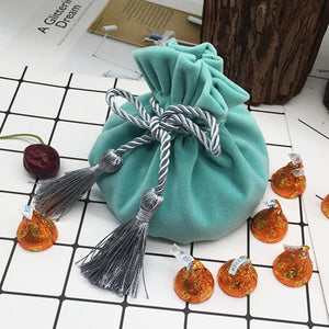 Light Blue Round Bottom With Gray Tassel Velvet Drawstring Bag 12x17cm
