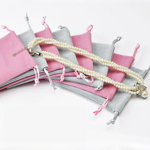1 pcs Pink Gray Earrings Ring Storage Velvet Drawstring Pouches Gift Bags