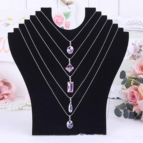 Necklace Bust Jewelry Pendant Chain Display Holder Neck Velvet Stand Easel hot