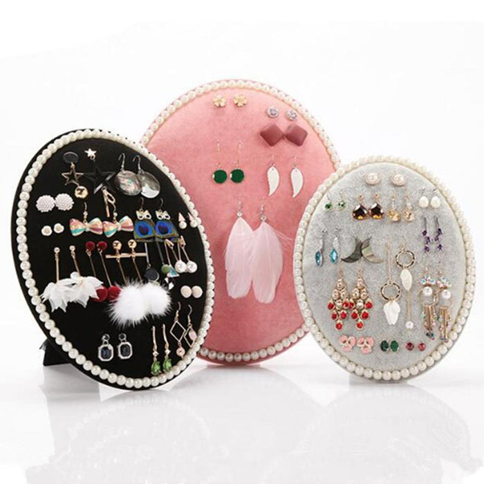 Oval Earrings Ear Studs Necklaces Organizer Jewelry Display Holder Stand Rack