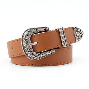 Black Leather Western Cowgirl Waist Belt Metal Buckle Waistband