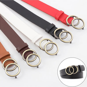 105cm Women's Double Round Metal Buckle Belts Fashion 2019 PU Leather