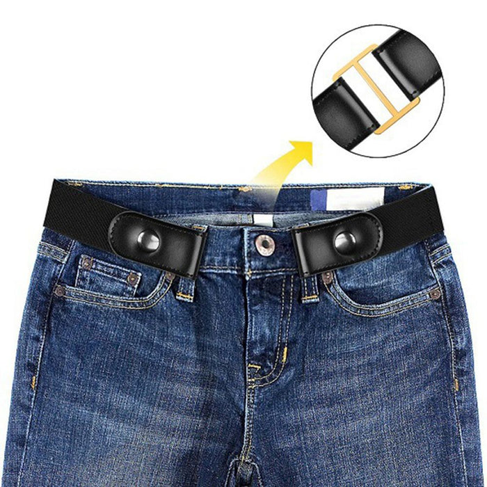 Women Fashion No Buckle Elastic Stretch Waistband Invisible Belt Girls Harajuku Canvas Leather Waist Belts for Jeans Dresses