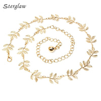 decoration leaf gold dress thin gold waist chain belts ladies 2019 luxury Leaves metal fine female belt for women Strap J020