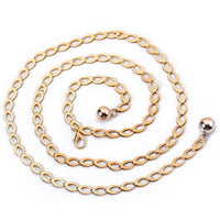 Women Metal Waist Belt quality Luxury Fashion For Dress Double pearl pendant